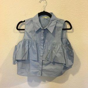 Gianni Bini blue ruffle collar cropped top